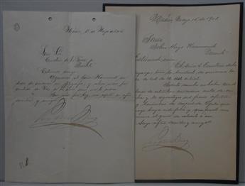 DÍAZ, PORFIRIO. Two Letters Signed, as President, to mining engineer John Hays Hammond or Emeterio de la Garza, Jr., in Spanish.