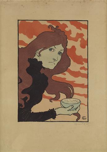 EUGÈNE GRASSET (1845-1917). [LA VITRIOLEUSE.] 1894. 23x16 inches, 59x42 cm. [André Marty, Paris.]