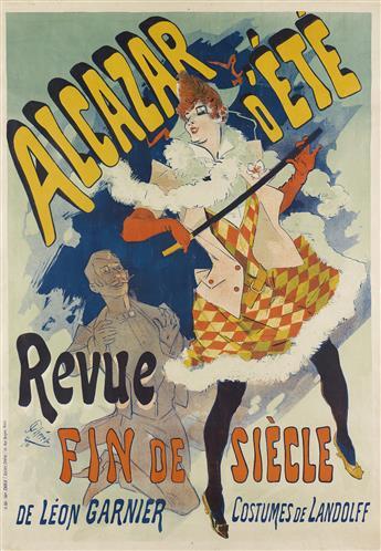 JULES CHÉRET (1836-1932). ALCAZAR DÉTÉ / REVUE FIN DE SIÈCLE. 1890. 47x33 inches, 120x84 cm. Chaix, Paris.