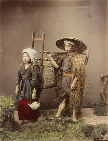 KUSAKABE KIMBEI (1841-1934) A rich album with 50 photographs of Japan, each artfully hand-colored.
