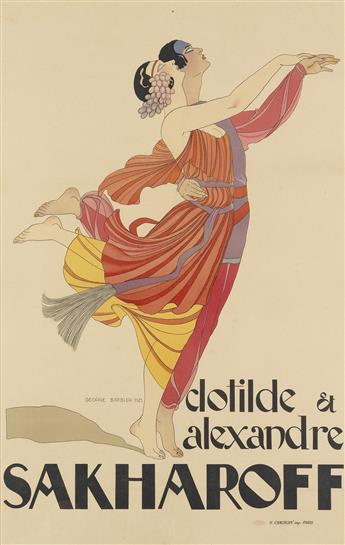 GEORGE BARBIER (1882-1932). CLOTILDE ET ALEXANDRE SAKHAROFF. 1921. 47x31 inches, 120x78 cm. H. Chachoin, Paris.