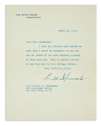 ROOSEVELT, FRANKLIN D. Typed Letter Signed, as President, to Esther J. Lichtmann,