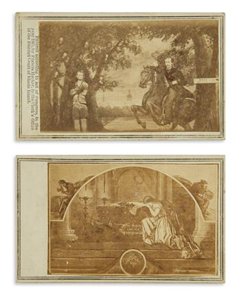 (LINCOLN, ABRAHAM.) Pair of unusual cartes-de-visite on the Lincoln assassination.