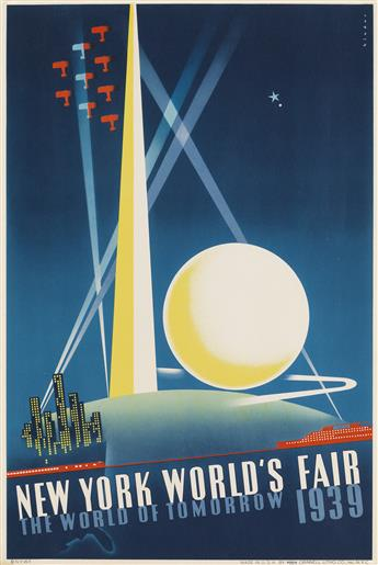 JOSEPH BINDER (1898-1972). NEW YORK WORLDS FAIR / THE WORLD OF TOMORROW. 1939. 20x13 inches, 50x34 cm. Grinnell Litho. Co., Inc., New