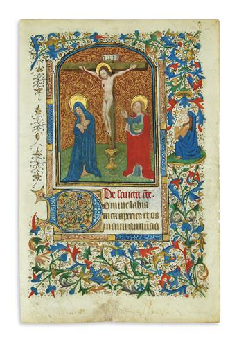 MANUSCRIPT LEAF.  Vellum leaf from Latin Book of Hours with miniature of the Crucifixion.  France, mid-15th century