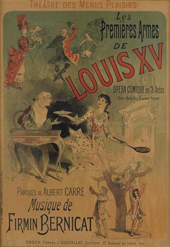 JULES CHÉRET (1836-1932). LES PREMIÈRES ARMES DE LOUIS XV. 1888. 29x21 inches, 75x53 cm. Chaix, Paris.