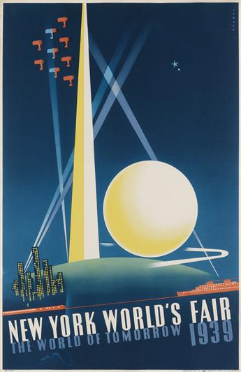 JOSEPH BINDER (1898-1972). NEW YORK WORLDS FAIR / THE WORLD OF TOMORROW. 1939. 30x19 inches, 76x50 cm. Grinnell Litho. Co., Inc., New