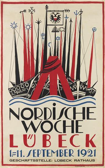 ALFRED MAHLAU (1894-1967). NORDISCHE WOCHE LÜBECK. 1921. 39x24 inches, 99x63 cm. H.G. Rahtgens, Lubeck.