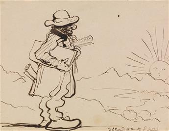 PAUL-JEAN FLANDRIN (Lyon 1811-1902 Paris) Collection of 20 pen and ink caricature drawings.