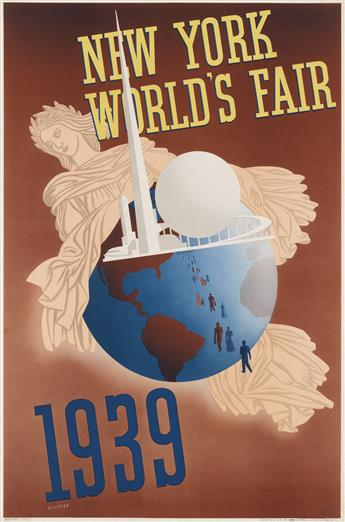 JOHN ATHERTON (1900-1952). NEW YORK WORLDS FAIR. 1939. 30x19 inches, 76x50 cm. Grinnell Litho Co., New York.