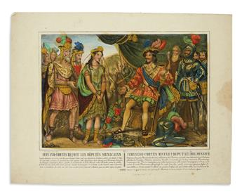 (MEXICO). Set of Italian lithographs depicting episodes from the life of Hernán Cortés.