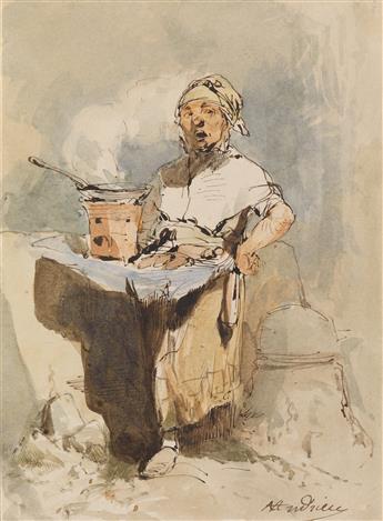 CLÉMENT-AUGUSTE ANDRIEUX (Paris 1829-1880 Samois-sur-Seine) Two watercolors.