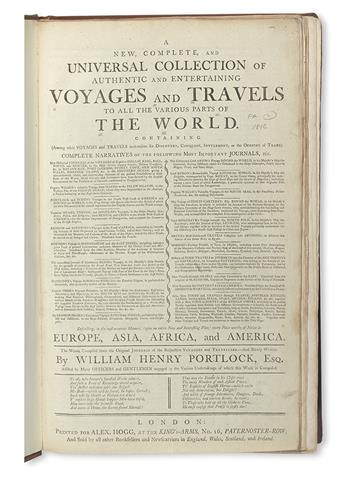 PORTLOCK, WILLIAM HENRY. A New, Complete, and Universal Collection of Authentic and Entertaining Voyages and Travels.  2 vols.  1794