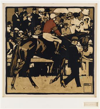 LUDWIG HOHLWEIN (1874-1949). [TURF.] Group of 3 plates. 1909. Each 19x19 inches, 49x50 cm. [Kunst & Verlagsanstalt Graphia, Munich.]