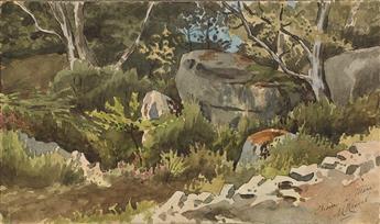 LOUIS-MAURICE BOUTET DE MONVEL (Orléans 1850-1913 Paris) A Rocky Wooded Landscape.