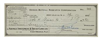EDISON, THOMAS A. Partly-printed Check Signed, ThosAEdison, as Edison Botanic Research Corporation President,