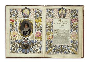 MANUSCRIPT.  Diploma conferring doctorate of canon and civil law on Achille Isabelli of Bergamo.  Manuscript in Latin on vellum. 1664