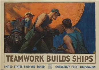 WILLIAM DODGE STEVENS (1870-1942). TEAMWORK BUILDS SHIPS. Circa 1918. 35x50 inches, 90x127 cm. Forbes, Boston.