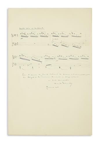 DEBUSSY, CLAUDE. Autograph Musical Quotation Signed and Inscribed, to the National Relief and Food Committee [Commission for Relief in
