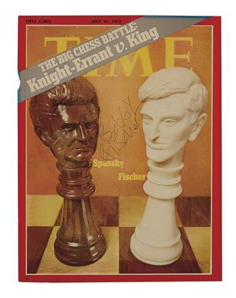 FISCHER, ROBERT JAMES (BOBBY). Signature, on a Time magazine cover featuring the 1972 Spassky-Fischer match.