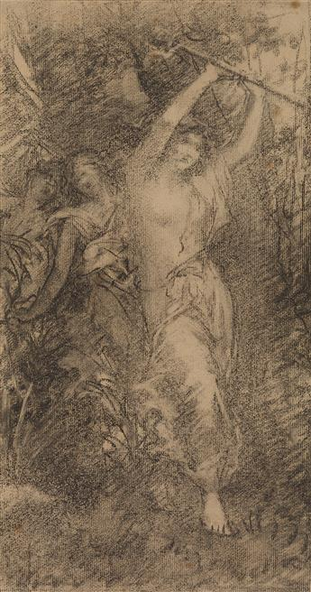 FRANÇOIS LAFON (Paris 1846-1913 Neuilly-sur-Seine) Three Nymphs in a Wooded Landscape.