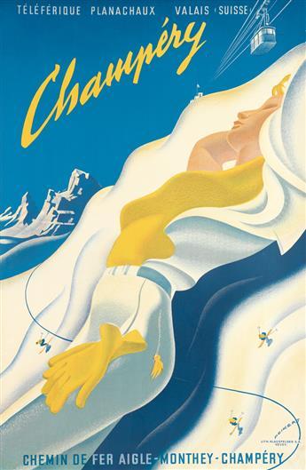 MARTIN PEIKERT (1901-1975). CHAMPÉRY / CHEMIN DE FER AIGLE. 1955. 39x25 inches, 100x65 cm. Klausfelder, Vevey.