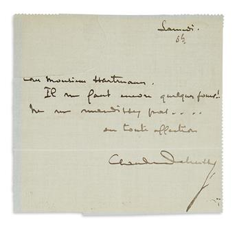 DEBUSSY, CLAUDE. Brief Autograph Letter Signed, to music publisher Georges Hartmann, in French,