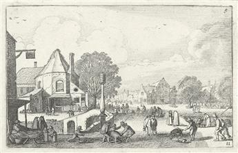JAN VAN DE VELDE II Collection of 29 landscape and topographical etchings.