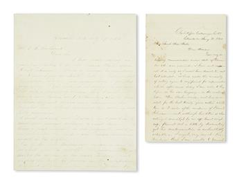 (AMERICAN INDIANS.) Letters regarding efforts to track a lost relative captured and raised by the Senecas.