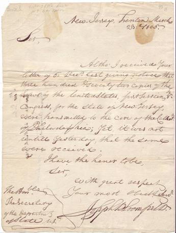 BLOOMFIELD, JOSEPH. Autograph Letter Signed, as Governor, to Secretary of State James Madison,