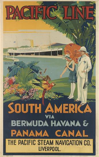 DESIGNER UNKNOWN. PACIFIC LINE / SOUTH AMERICA . Circa 1930s. 39x25 inches, 99x63 cm.