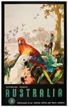JAMES NORTHFIELD (1888-1973). AUSTRALIAN PARROTS / AUSTRALIA. Circa 1935. 39x25 inches, 100x63 cm. Northfield Studios, Melbourne.