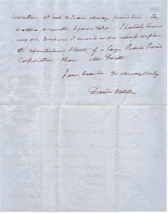 WEBSTER, DANIEL. Autograph Letter Signed, Danl Webster, as Senator, to his former law partner Timothy Farrar, Jr.,