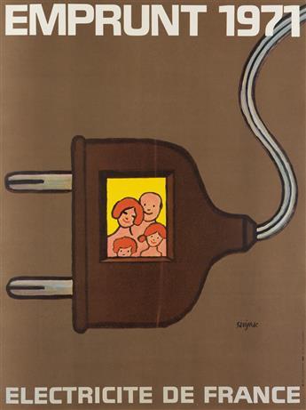RAYMOND SAVIGNAC (1907-2002). EMPRUNT 1971 / ELECTRICITE DE FRANCE. 1971. 30x23 inches, 78x58 cm. Sodel, [Paris.]