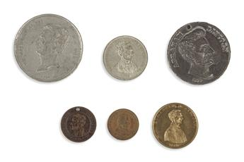 (REALIA.) Group of 6 Lincoln campaign coins.