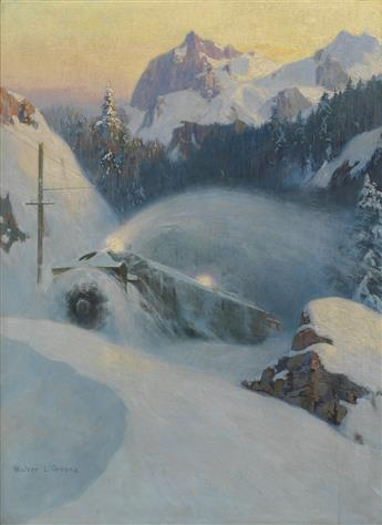 WALTER L. GREENE (1870-1956). [THE CONQUEST OF THE ROCKIES.] Oil painting. Circa 1924. 26x19 inches, 67x50 cm.