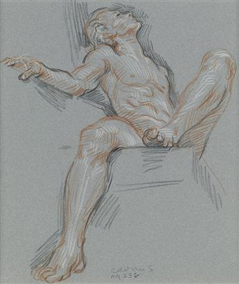PAUL CADMUS (1904-1999)  Seated Male Nude.