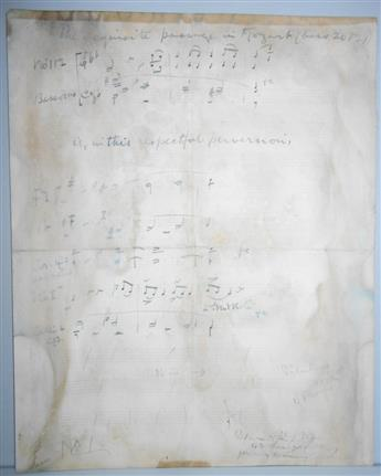 ELGAR, EDWARD. Autograph Musical Manuscript, unsigned, two 3-bar passages, each with holograph instrument labels and caption.