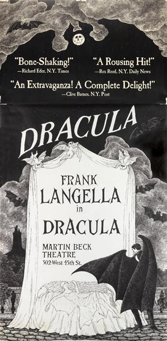EDWARD GOREY (1925-2000). FRANK LANGELLA IN DRACULA. 1977. 83x41 inches, 211x104 cm.