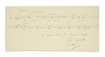 GOUNOD, CHARLES. Two items, each Signed, Ch. Gounod: Autograph Musical Quotation Inscribed * Autograph Letter.