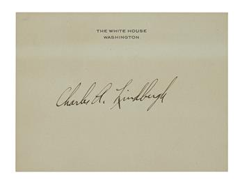 LINDBERGH, CHARLES A. Signature, on a White House card.