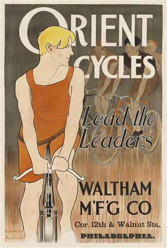 EDWARD PENFIELD (1866-1925). ORIENT CYCLES / LEAD THE LEADERS. Circa 1895. 42x28 inches, 107x72 cm. J. Ottmann, New York.