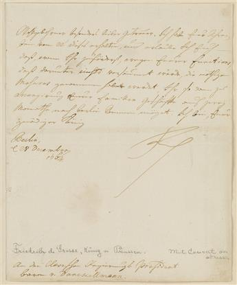 FREDERICK II; KING OF PRUSSIA (1712-1786)  Letter Signed, Friedrich, as King, to the President of the Regency of Cleves Baron von Dan