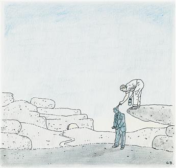 GLEN BAXTER.  (CARTOON) Zeppelin * Painted Man.