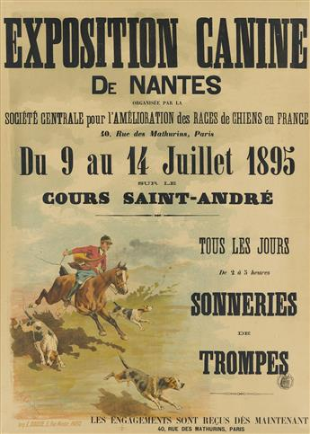 SIGNATURE ILLEGIBLE. EXPOSITION CANINE DE NANTES. 1895. 32x22 inches, 81x57 cm. E. Douste, Paris.