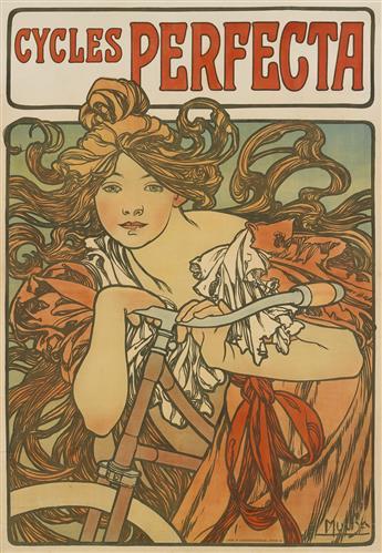 ALPHONSE MUCHA (1860-1939). CYCLES PERFECTA. 1897. 57x39 inches, 146x101 cm. F. Champenois, Paris.