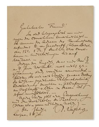 WAGNER, RICHARD. Autograph Letter Signed, R. Wagner, to Dearest Friend, in German,