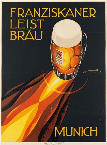 EDMOND MAURUS (DATES UNKNOWN). FRANZISKANER LEIST BRÄU / MUNICH. Circa 1930s. 31x22 inches, 78x57 cm. Publix, Paris.