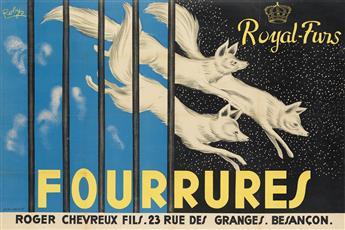 ROBYS (ROBERT WOLFF, 1916-?). FOURRURES / ROYAL - FURS. Circa 1930. 31x46 inches, 78x118 cm. Avenir Publicité, Paris.