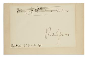 STRAUSS, RICHARD. Autograph Musical Quotation Signed, two bars from Also sprach Zarathustra,